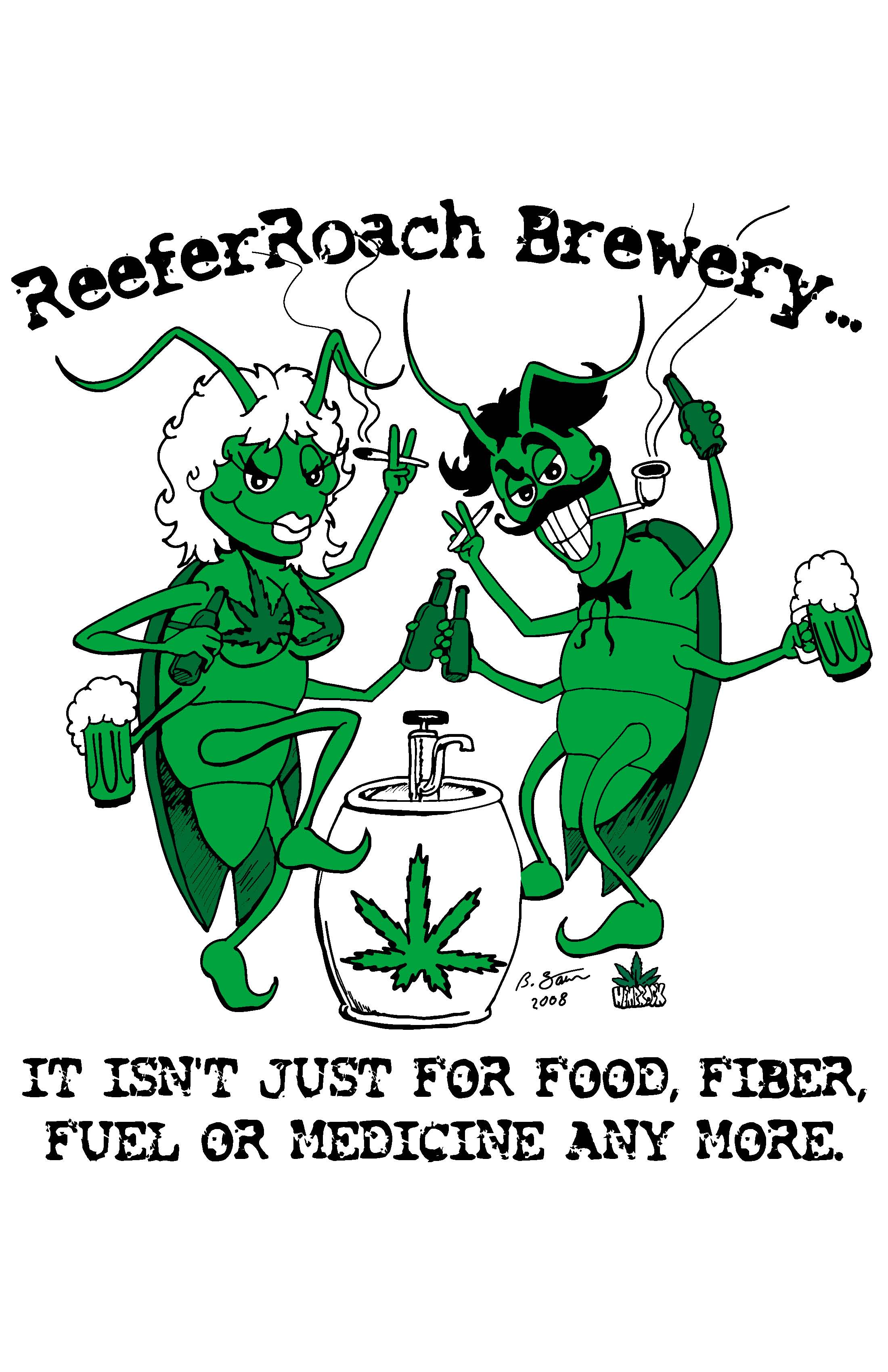 REEFER ROACH BREW TEE FRONT